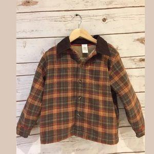 Gymboree boys brown plaid coat size 4